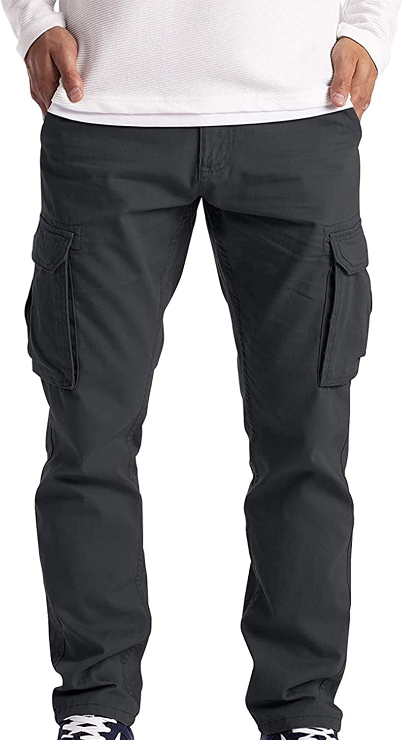 Cargo Pants for Men,Men's Casual Relaxed Fit Multi-Pockets Hiking Pant Combat Safety Cargo Trousers Outdoor Travel Pants