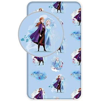 Disney - Sábana Bajera (90 x 200 cm, 100% algodón), diseño de Frozen: Amazon.es: Hogar