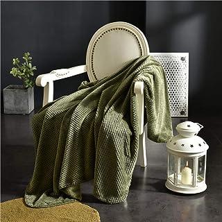 ZJXSNEH Manta de Tiro, Toalla de sofá de Chenilla nórdica, Estilo étnico, línea de algodón Universal, Funda de sofá, Toalla, Manta de sofá Verde Oscuro Colcha de 200x150cm