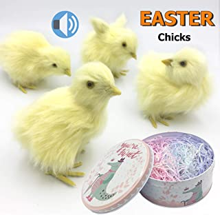 Easter Decorations for Home, 4 Pack Easter Chicks for Easter Basket with Grass, Spring Easter Baby chick for Photography, Baby Shower Kids Newborn Easter Prop,Realistic Chicken with Chrip Iron Storage
