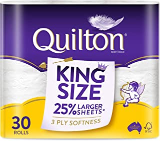 Quilton 3 Ply King Size Unscented Toilet Tissue ( 175 Sheets per Roll, 121mm x 114mm, 30 count, Pack of 30
