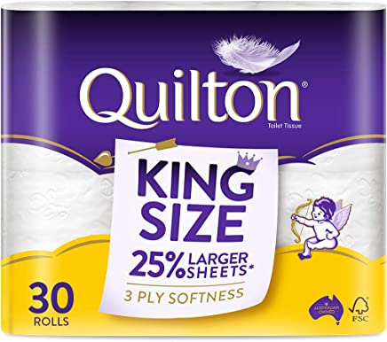 Quilton 3 Ply King Size Unscented Toilet Tissue (175 Sheets per Roll, 121mm x 114mm, 30 count, Pack of 30