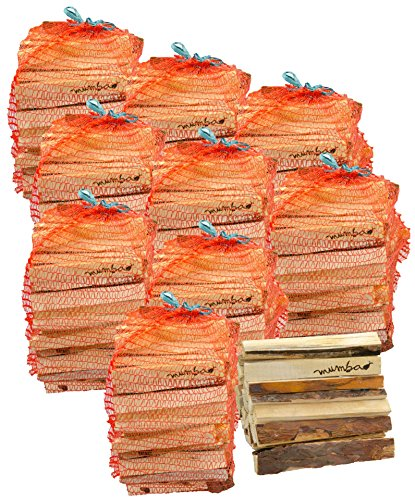 ungefähr 10 Säcke mumba-Anfeuerholz (insgesamt ca. 30kg) Fichte/Kiefer, Scheitabmessungen ungefähr 15-17 x 40-45 x 190 mm