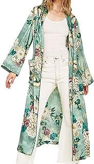 Donna Pizzo Floreale Senza Maniche Aperta Abito lungo da donna fantasia Kimono Cardigan Lungo