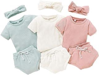 Bonfor, 3 Pack x 3 Piezas Ropa Bebe Niño Verano 6-24 Meses Conjuntos de Deporte Bebé Niña Tops + Pantalones Cortos + Venda de Pelo, Ropa Recien Nacido 1-2 años