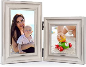 Double 4x4-inch&4x6-inch Wood Photo Frame, Hinged Picture Frames, Distressed Design, Stands on Desk or Table Top (Window 3.5 x 3.5 or 3.5 x 5.5 Pictures, Light Grey Color)