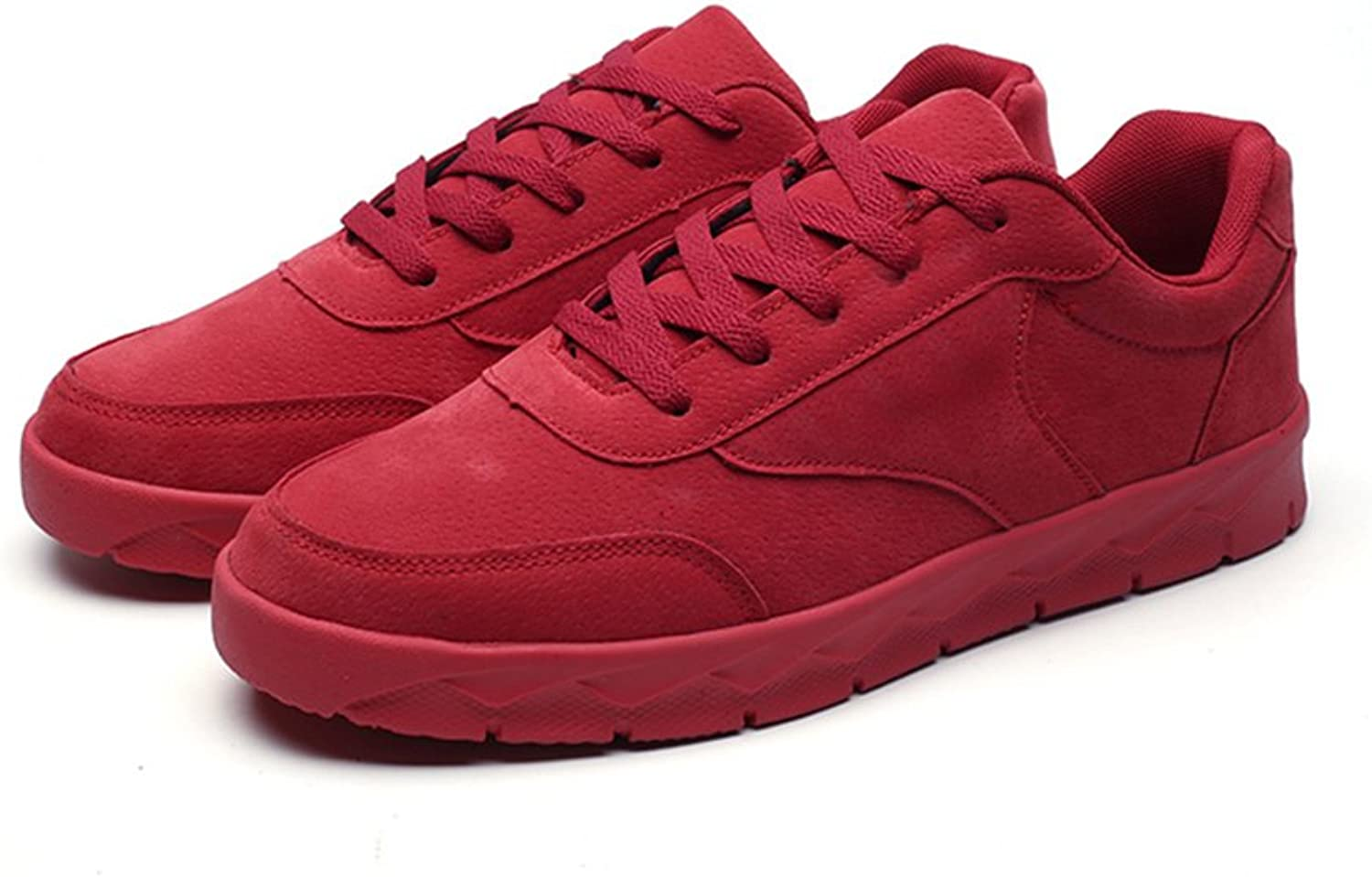 YUBINxiuxianxie Spring Summer Casual shoes Men's shoes Breathable shoes shoes Men's shoes Korean Version Of The Lazy Increase Sports Leisure Low Help Students shoes (color   RED, Size   39)