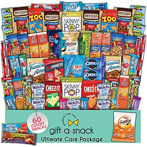 Snack Box Variety Pack (60 Count) Fathers Day Gift Basket Prime - Graduation 2021 College Student Care Package, Crave Food Arrangement Candy Chips Cookies - Birthday Treat for Dad Women Men Adult Kid