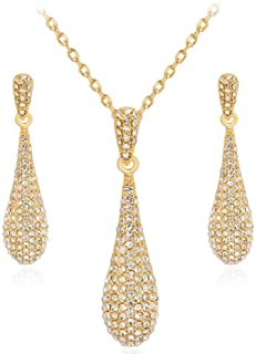Gold Full Crystal Rhinestone Gem Tear Drop Pendant Necklace Earrings Jewelry Sets