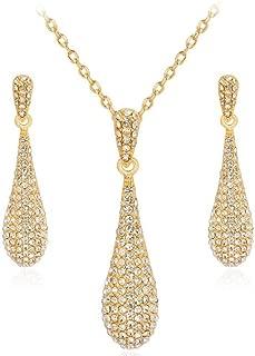 Full Crystal Rhinestone Gem Tear Drop Pendant Necklace Earrings Jewelry Sets