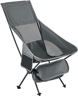 ぼん家具 アウトドアチェア 軽量 折りたたみ 収納 ポケット付 ハイバック 椅子 グレー