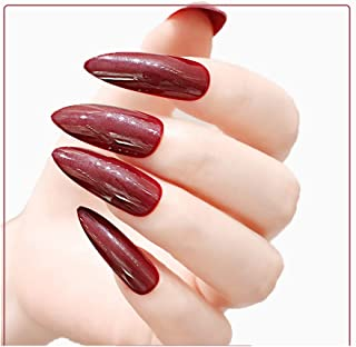 MISUD Stiletto Fake Nails 24 Pcs Super Long Almond Sharp Full Cover Gel Glossy Press-on Wine Red False Nails Tips(Party Queen)