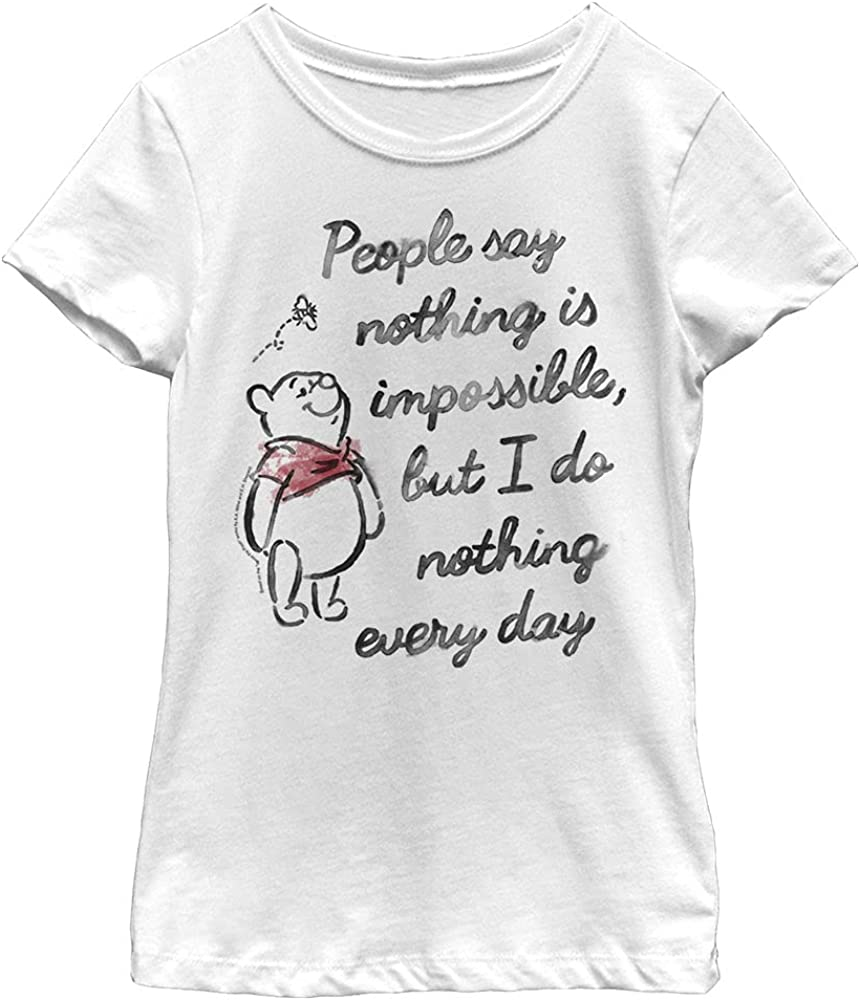 Disney Winnie The Pooh Impossible Girl's Solid Crew Tee