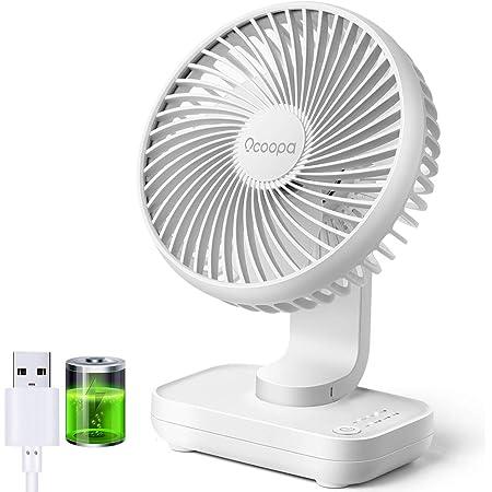 OCOOPA Ventilateur de Bureau USB, fonctionnant sur Batterie Rechargeable de 4000mAh, Ventilateur de Table 4 Vitesses, Mini Ventilateur Portable de 5 Pouces Fonctionnement Super Silencieux (Blanc)