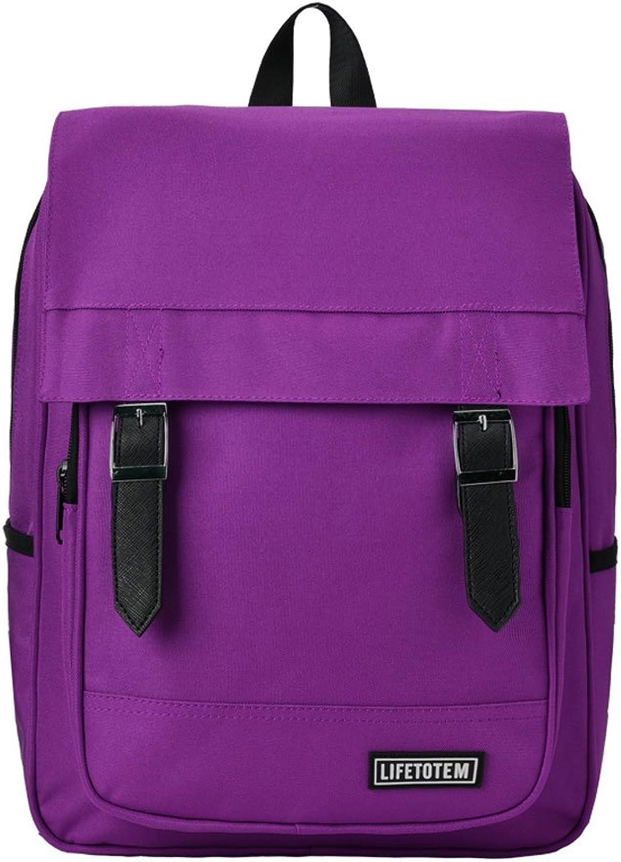 ZJTravel Backpack Schoolbag Female Students Korean Version of The Campus Junior High School Students Sen High School Students Simple Shoulder Bag Small Fresh Canvas && (color   Purple)