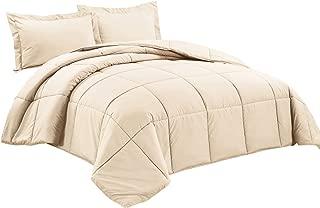 Chezmoi Collection 3-Piece Down Alternative Comforter Set (Queen, Cream)
