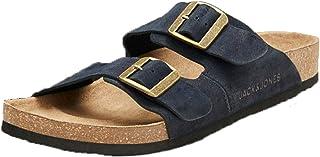 JACK & JONES Men's Jfwcroxton Leather Anthracite 20 Sts Sandal