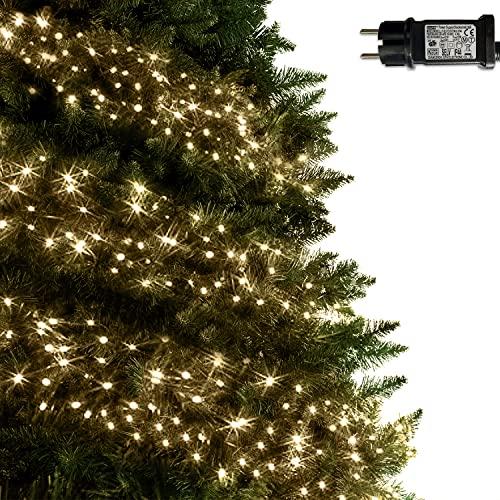 ANSIO® Lichterkette außen Innen 9m 720 LED Cluster lichterkette Weihnachtsbaum Lichtketten Strom Für Weihnachten, balkon, fenster, Weihnachtsdekoration | Warmweiß Weihnachtsbeleuchtung | Grünes Kabel