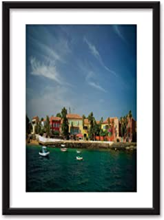 View to Historic City at The Goree Island Bedroom Black and White Structure Canvas Prints,Senegal for Home Decoration Ready to Hanging,16''x20''