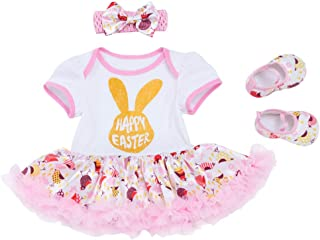 Easter Day Costume Newborn Baby Toddler Girls Bunny Holiday Fancy Dress up Clothes Set Casual Playwear Pink 12-18 Months