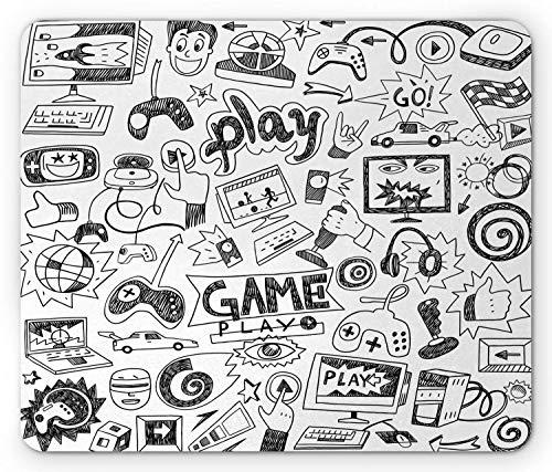 Alfombrilla de ratón para Videojuegos, diseño monocromático con Estilo de Dibujo, Monitor de Carreras, Dispositivo Gadget Teen 90 's, Alfombrilla Rectangular de Goma Antideslizante, Negro Blanco