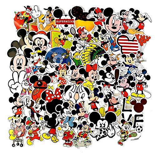 BAIMENG Cute Dibujos Animados Mickey Mouse Doodle Pasta Maleta monopatín Guitarra teléfono Impermeable Coche Pegatina 50 Uds