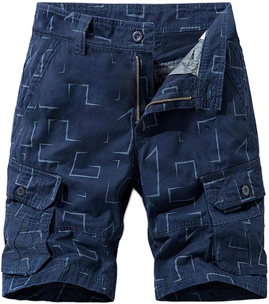 Gergeos Summer Casual Shorts Men's Relaxed Fit Outdoor Cargo Shorts with Multi Pockets (No Belt)