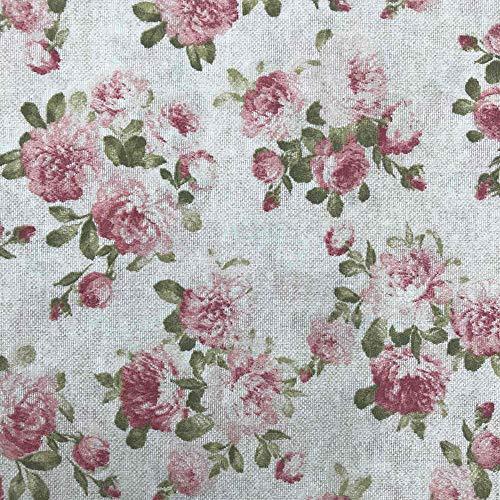 Kt KILOtela Tela de loneta Estampada - Retal de 100 cm Largo x 280 cm Ancho | Floral Málaga - Rosa, Verde, Beige ─ 1 Metro