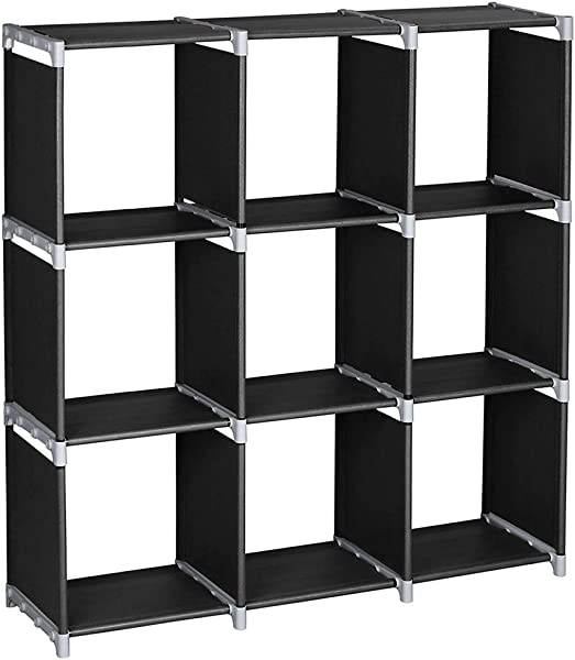 Little Tomato DIY Storage Cabinets 3 Tier Storage Cube Closet Organizer Shelf 6 Cube 9 Cube Cabinet Bookcase Durable Multifunctional Black 9 Cubes