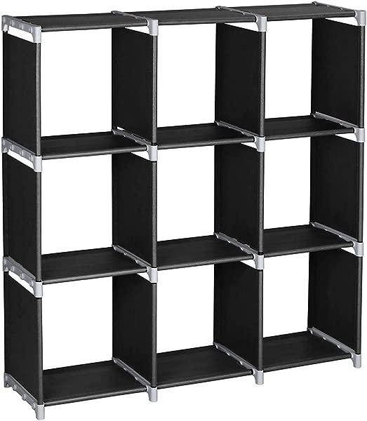 SANGDA Cube 收纳整理架 3 层 9 隔层装饰架子空间架子储物架书架书架衣柜整理架卧室客厅办公室黑色 41 73x 43英寸
