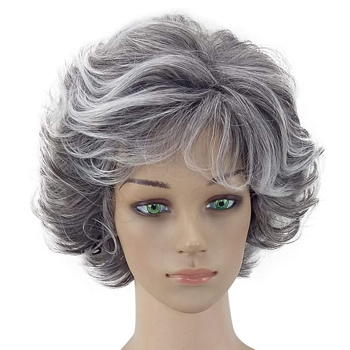 シャークガラガラうるさいMayalina おばあちゃん灰色のアフリカの短いアフロカーリーウィッグコスプレ衣装パーティーのための自然な波状のかつら無料ウィッグキャップ合成髪レースかつらロールプレイングかつら (色 : Granny Grey, サイズ : ワンサイズ)