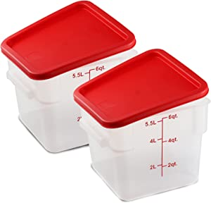Tafura [Pack of 2] 6 Qt Container with Lid. Commercial grade Brine Bucket with Cover. 6 Quart Food Storage Containers with Cover. Brining Canister. BPA Free