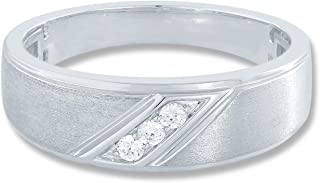 10K White Gold 1/10 cttw Diamond (IJ Colour I3 Clarity) Pre-engagement Mens Ring