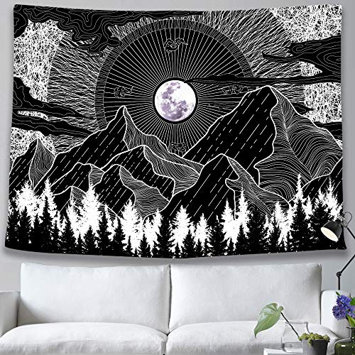 pinata Black and White Mountain Moon Tapestry Wall Hanging Aesthetic Nature Black Tapestry, Forest Night Sky Trippy Tapestry for Bedroom Living Room College Dorm Decor Mountain Wall Art 59x59 Inches