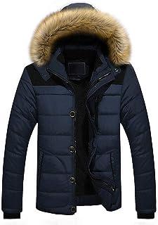 Men Jacket with Hood Autumn Winter Warm Down Jacket Windproof and Waterproof Zipper Jacket Casual Comfortable Puffer Suit ...