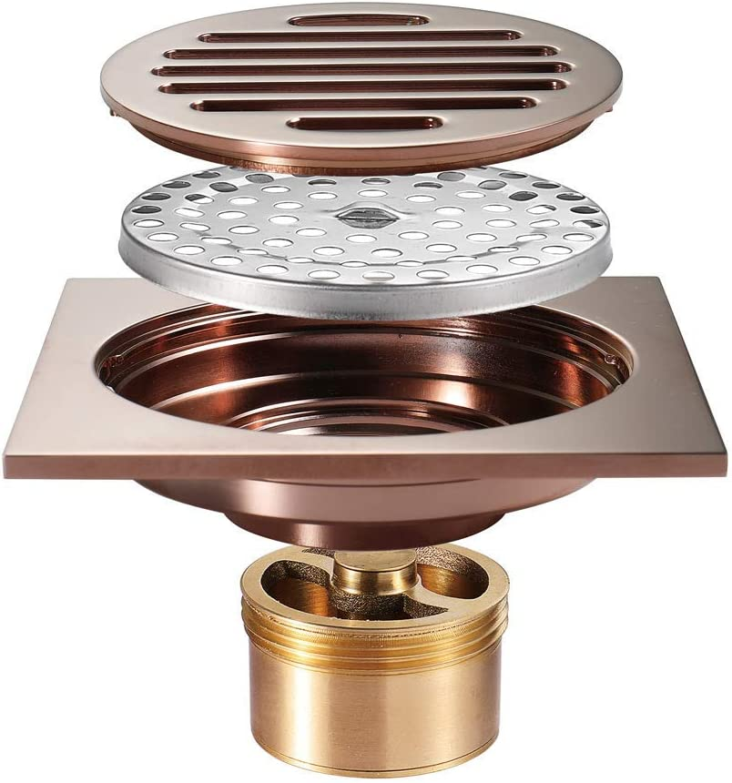 2021 new QAQA Purchase Shower Drain Rose Gold Floor 4 Inches Sh Brass Square