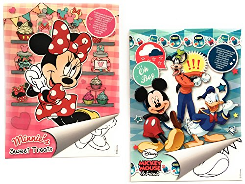 "2x DISNEY Malblock & Sticker Din A 4 – ""Minnie Mouse"" und ""Mickey Mouse & Friends"" – Malbuch mit Aufkleber"