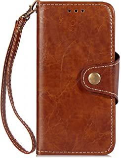 Alcatel Idol 5 Case, Retro Distressed Style Magnetic Copper Buckle Flip PU Leather Wallet Case Cover with Portable Lanyard for Alcatel Idol 5 (Color : Brown)