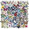 100枚の蝶の花の群れの中で落書きのステッカーはオートバイのスーツケースの防水ステッカーを飾ります。