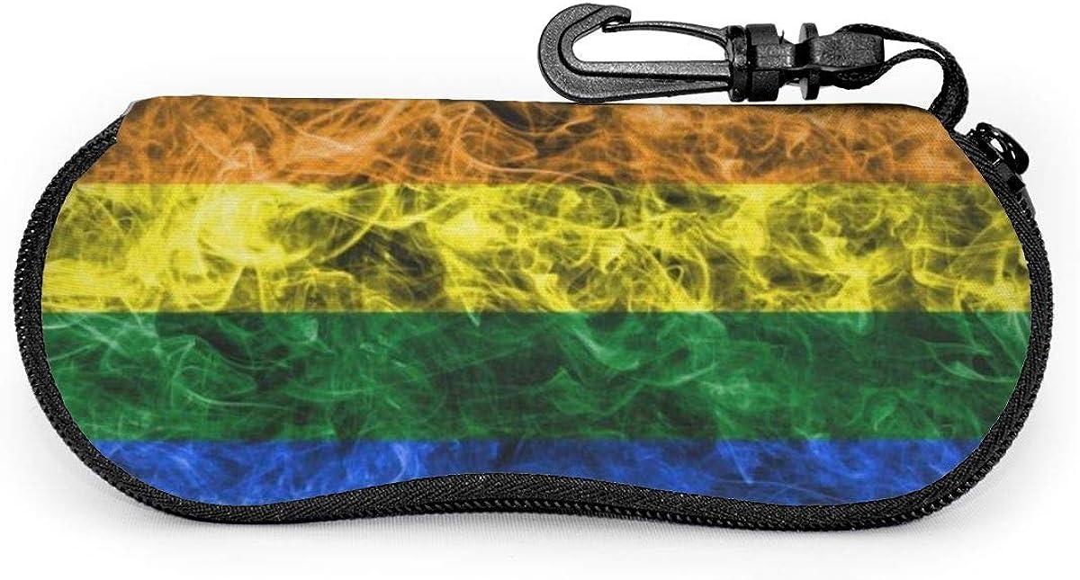 Rainbow Sunglasses Soft Case Ultra Light Neoprene Zipper Eyeglass Case With Key Chain