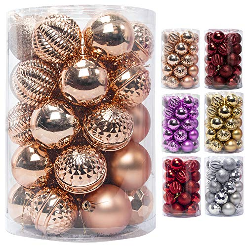 JEKOSEN 2020 New 34PCS Christmas Ball Ornaments for Xmas Tree Decor 2.36' Shatterproof Christmas Tree Decorations with Hanging Rope Bronze