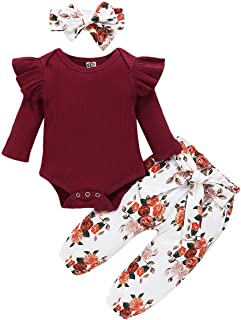 3PCS Newborn Baby Girl Outfits,Infant Long Sleeve Ruffle...