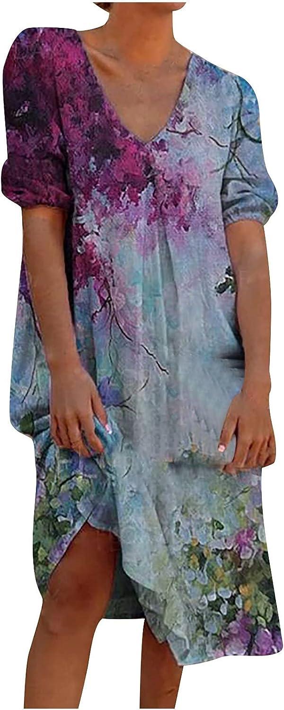 FENGSHAN Women Casual Dress Short Sleeve V Neck Skirt Flower Print Loose Dress Summer Sundress