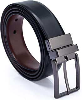 GUHIDO Men's Leather Belt, Reversible and Adjustable Genuine Cow Leather Belt with Rotated Buckle Use for men Jeans, business, Casual, Packed in a Gift Box