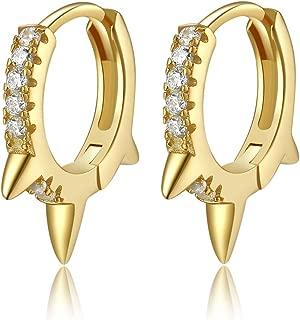 Spike Huggie Hoop Earrings, 14k Gold Plated Sterling Silver Small Geometric Earrings for Women