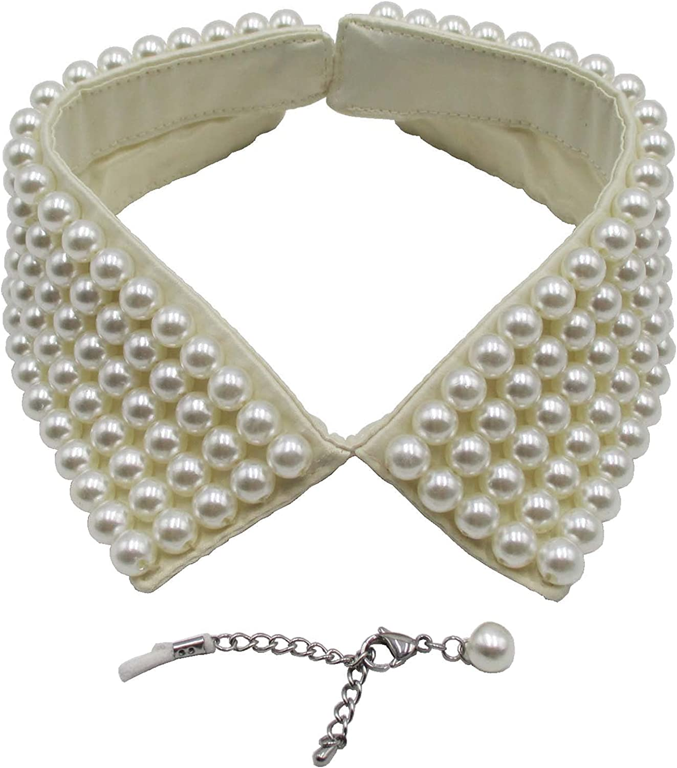 Trimscraft Collar Necklace Simulated Pearl Detachable False Collar Choker Clothing Accessory for Women
