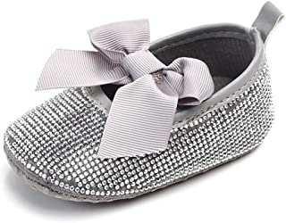 OAISNIT Baby Girls Mary Jane Flats Sparkly Bow Diamonds Princess Dress Shoes Anti-Slip Infant Crib Shoes