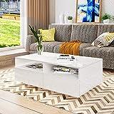 UNDRANDED Couchtisch Moderner Hochglanz 4 Schubladen mit Offener Fall Sofatisch für Wohnzimmermöbel 85 x 55 x 35 cm (Weiß)