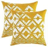 TreeWool - Pack de 2 - Fundas de cojín cuadradas con diseño geométrico en Lona de algodón (Mostaza y Blanco; 50 x 50 cm)