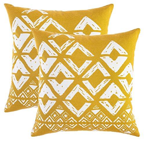 TreeWool - Pack de 2 - Geométrico diseño de Cuadradas Decorativo fundas de cojín, 100% algodón (50 x 50 cm / 20 x 20 pulgadas; Mostaza y Blanco)